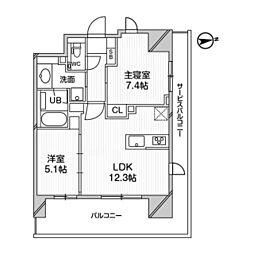 M白金台 8階2LDKの間取り