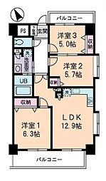JR山手線 高田馬場駅 徒歩11分の賃貸マンション 8階3LDKの間取り