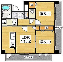 プラリア津田[2階]の間取り