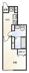 西武池袋線 ひばりヶ丘駅 徒歩10分の賃貸アパート 1階1Kの間取り