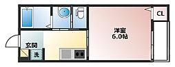 阪急宝塚本線 三国駅 徒歩9分の賃貸アパート 3階1Kの間取り