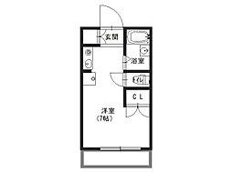 加賀山コーポ6 3階1Kの間取り