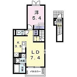 北大阪急行電鉄 桃山台駅 徒歩22分の賃貸アパート 2階1LDKの間取り
