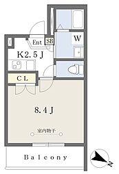 ヨコハマウエストベイ 4階1Kの間取り