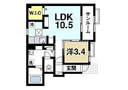 JR関西本線 大和小泉駅 徒歩3分の賃貸アパート 1階1LDKの間取り