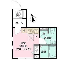 JR総武線 大久保駅 徒歩2分の賃貸アパート 1階ワンルームの間取り
