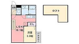 アンピオ姪浜拾壱番館[203号室]の間取り