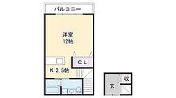 兵庫県三木市緑が丘町西2丁目の賃貸アパートの間取り
