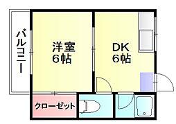 フラットヒルコーポ[2階]の間取り