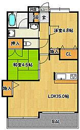 兵庫県神戸市兵庫区西柳原町の賃貸マンションの間取り