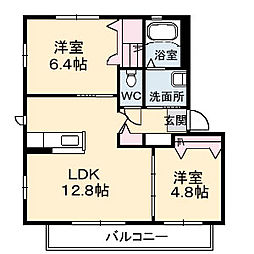 JR呉線 呉駅 江南橋下車 徒歩3分の賃貸アパート 2階2LDKの間取り