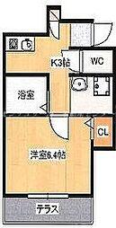 JR山陽本線 東岡山駅 徒歩6分の賃貸アパート 1階1Kの間取り