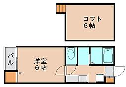 ピュア県庁北参番館 礼2[2階]の間取り