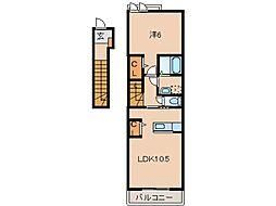 JR紀勢本線 海南駅 徒歩17分の賃貸アパート 2階1LDKの間取り