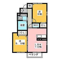 シェソワ[1階]の間取り