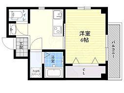 京阪本線 千林駅 徒歩5分の賃貸マンション 2階1Kの間取り