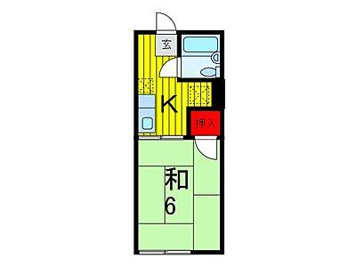 間取り,1K,面積20.66m2,賃料3.6万円,JR埼京線 中浦和駅 徒歩5分,JR武蔵野線 西浦和駅 徒歩16分,埼玉県さいたま市南区関1丁目