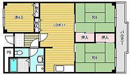 メゾンカーサー2号館[2階]の間取り