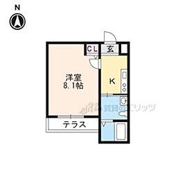 叡山電鉄叡山本線 修学院駅 徒歩2分の賃貸マンション 1階1Kの間取り