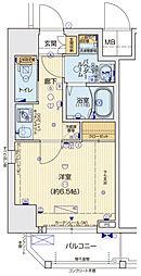 ララプレイス京町堀プロムナード 9階1Kの間取り