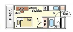 家具・家電付き ラ・レジダンス・ド・天神 A[8階]の間取り