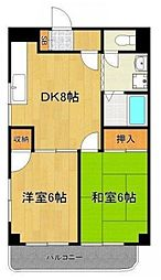東京都板橋区徳丸5丁目の賃貸マンションの間取り