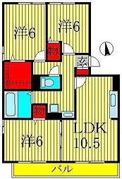 リビングタウン南青山A[A201号室]の間取り