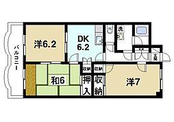 グラン・シャリオ二階堂 3階3DKの間取り