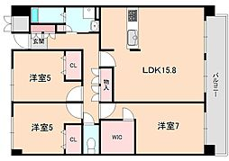 ディアクレスト南桜塚[202号室]の間取り