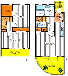 [テラスハウス] 東京都国分寺市西町1丁目 の賃貸【/】の間取り