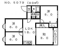 ロイヤル舎利寺[301号室号室]の間取り