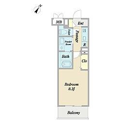 メゾンロア 4階1Kの間取り