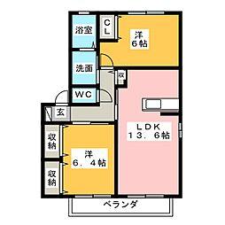 メゾン ド プロヴァンス E[2階]の間取り