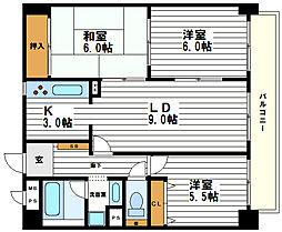 ハーティ上本町[9階]の間取り