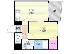 京阪本線 清水五条駅 徒歩6分の賃貸マンション 1階1LDKの間取り
