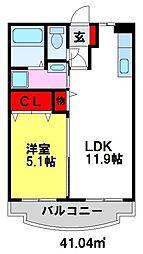パークマンション山浦 1階1LDKの間取り