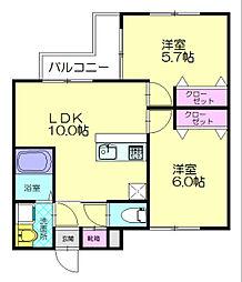 JR香椎線 須恵中央駅 徒歩10分の賃貸アパート 1階2LDKの間取り
