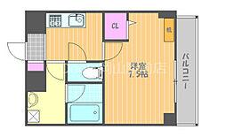 JR宇野線 大元駅 徒歩7分の賃貸マンション 8階1Kの間取り