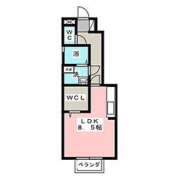 メルベイユ 1階ワンルームの間取り