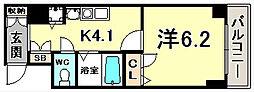 スワンズ神戸三宮イースト 2階1Kの間取り