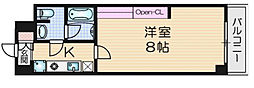 JR片町線(学研都市線) 住道駅 徒歩8分の賃貸マンション 2階1Kの間取り