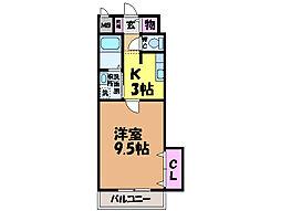 愛媛県東温市野田1丁目の賃貸マンションの間取り