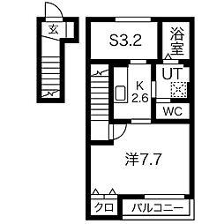 仙台市営南北線 河原町駅 徒歩13分の賃貸アパート 2階1SKの間取り