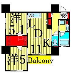 JR山手線 日暮里駅 徒歩6分の賃貸マンション 6階2LDKの間取り