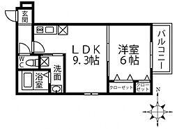 (仮称)フジパレス三島1丁目 1階1LDKの間取り