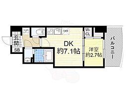 阪神なんば線 桜川駅 徒歩1分の賃貸マンション 13階1DKの間取り