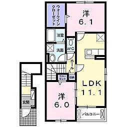 レ・クロ I 2階2LDKの間取り