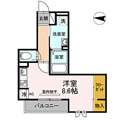 仮ディールーム新川崎 2階1Kの間取り