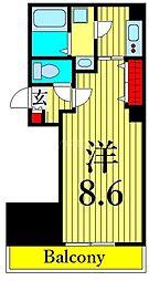 つくばエクスプレス 浅草駅 徒歩10分の賃貸マンション 9階1Kの間取り