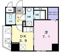 JR山陽本線 福山駅 徒歩5分の賃貸マンション 1階1DKの間取り